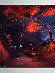 E-HOME® Stretched LED Canvas Print Art Cabin in The Woods LED Flashing Optical Fiber Print One Pcs