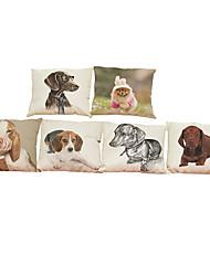 Set of 6  Cute dog pattern   Linen Pillowcase Sofa Home Decor Cushion Cover