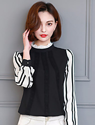 assinar 2017 Primavera nova camisa chiffon de manga comprida feminina coreano slim stylish stand-up colarinho da camisa camisa pequena