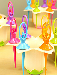 6Pcs/Set Creative Kitchen Ballet Beautiful Faery Fruit Fork Flower Base Plastic Toothpick Food Grade Colour Randam