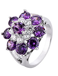 Ring Gemstone Zircon Cubic Zirconia Copper Gold Plated Simulated Diamond Flower Flower Style Fashion Personalized Euramerican Purple