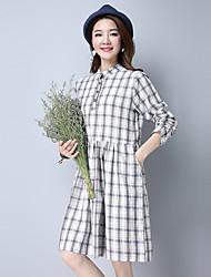2017 Primavera sinal de código novo nome de família do vento algodão xadrez vestido instalado