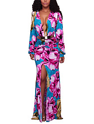 Women's Casual/Daily Party Vintage Boho Fashion Sheath Swing DressFloral Ruched Deep V Maxi Long Sleeve Spring Fall High Rise