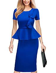 Moulante Robe Femme Sortie Travail Grandes Tailles simple Chic de Rue,Couleur Pleine Col Arrondi Mi-long Manches Courtes Bleu Polyester