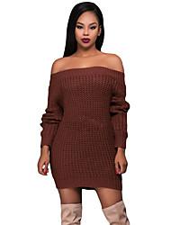 Women's Off Shoulder Shredded Back Sweater Dress