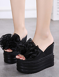 Sandals Summer Other PU Dress Wedge Heel Satin Flower Black White
