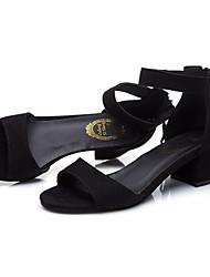sandálias de verão d'Orsay&Escritório ao ar livre do velo de duas peças&carreira ocasional calcanhar robusto zíper curta