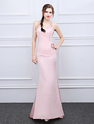 Formal Evening Dress Trumpet / Mermaid Halter Sweep / Brush Train Satin with Beading Crystal Detailing