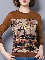 Fashion Round Neck Long Sleeves Wild Printing Upper Outer Garment Daily Leisure Home Dating Party Shirt