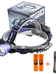 U'King® ZQ-X837BL#3-EU CREE XML T6 Zoomable 180 Rotate 3Modes Headlamp Bike Light Kits with Rear Safety LED