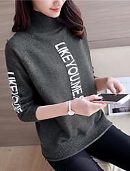 знак # 4369 2016 зима новых женщин жаккарда свитер письма