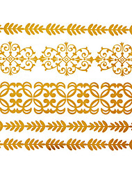- Tattoo Aufkleber - Muster - Schmuck Serie - für Baby/Damen/Girl/Erwachsener/Teen - Gold - Papier - #(1) Stück - #(15x11.5) -#(Chinese