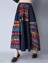 Women's A Line Print Rainbow Patchwork Jacquard Embroidered Skirts,Going out Casual/Daily Holiday Vintage Cute Chinoiserie Mid Rise Midi