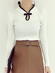 ретро тонкий сплошной цвет свитер с длинными рукавами платье рубашки дна свитер пряжки темперамент дамы
