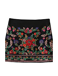 Women's Mid Rise Above Knee Skirts,Cute Street chic A Line Bodycon Embroidered Solid Floral Print