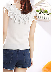 Sign new three-dimensional flowers collar halter tops sexy knit shorts Slim bottoming
