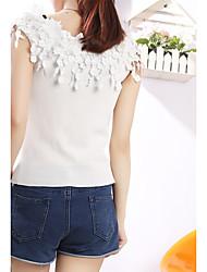signer de nouvelles fleurs en trois dimensions halter tops col sexy short tricot talonnage mince