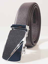 Men's head layer cowhide litchi grain fashion leisure automatic buckle belt body is about 3.6 cm wide