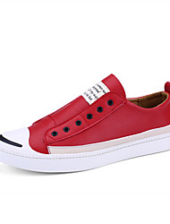 Men's Sneakers Spring Summer Fall Comfort Leather Outdoor Casual Flat Heel Lace-up Black Red White