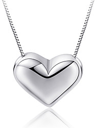 Necklace Pendant Necklaces Jewelry Wedding Party Special Occasion Engagement Circle Heart Platinum Plated 1pc Gift Silver