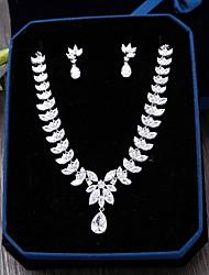 Circonita Zirconio Plata 1 Collar 1 Par de Pendientes Para Boda Fiesta Ocasión especial Diario Casual 1 Set Regalos de boda