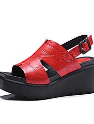 Feminino-Sandálias-Sapatos clube-Anabela-Preto Vermelho-Outras Peles de Animais Couro-Escritório & Trabalho Social Festas & Noite