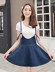 signe 2017 printemps et d'été nouvelles femmes korean bretelles occasionnels denim jupe belle grande sangle swing robe tutu