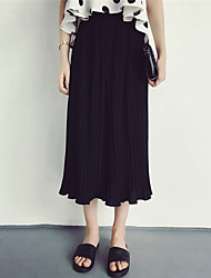 assinar primavera e verão novas mulheres&# 39; s simples elástico na cintura fina selvagem chiffon plissado calça saia