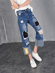 registe mendigo buracos calça jeans feminina calça personalidade de patch patch de jeans reta punhos perna larga solta
