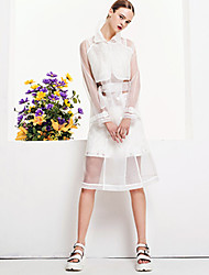 M Casual/Daily Cute A Line DressEmbroidered Shirt Collar Midi Long Sleeve Nylon White Spring Fall High Rise Inelastic