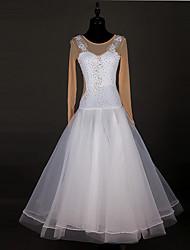Wir werden Ballsaal Tanzkleider Frauen Performance Chinlon Organza Kristalle / Strass / Spleiß Kleid