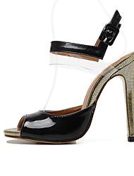 Damen-High Heels-Kleid-PU-StöckelabsatzSchwarz