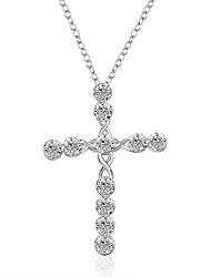 Women's Pendant Necklaces Chain Necklaces AAA Cubic Zirconia Zircon Cubic Zirconia Copper Silver Plated CrossBasic Unique Design Dangling