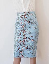Damen Übergrössen Röcke,Bodycon BlumenLässig/Alltäglich Arbeit Vintage Street Schick Hohe Hüfthöhe Midi Reisverschluss Polyester