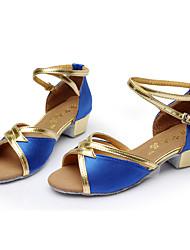 Non Customizable Kids' Dance Shoes Satin Latin Sandals Low Heel Indoor