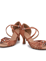 Non Customizable Women's Dance Shoes Satin Satin Latin Salsa Sandals Heels Flared Heel Practice Professional Indoor PerformanceBlack Blue