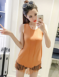 Women's Casual/Daily Cute Summer Tank Top,Solid Round Neck Sleeveless Pink White Orange Rayon