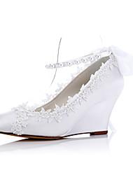 БелыйСвадьба Для праздника Для вечеринки / ужина-Ткань-На танкетке-Удобная обувь-Обувь на каблуках