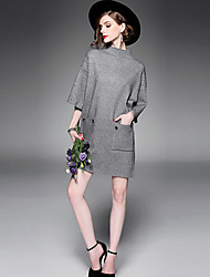 Women's Casual/Daily Simple Tunic Dress,Solid Crew Neck Above Knee ½ Length Sleeve Polyester Spring Fall Mid Rise Micro-elastic Medium