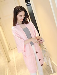 4468 # Korean women's knit cardigan in a long paragraph nine points sleeve College wind loose coat jacket with buttons