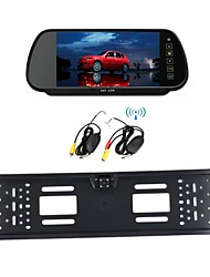 Car Wireless 7 LCD Monitor/Mirror  European License Plate  170  HD Car Night Vision  Rear View Camera