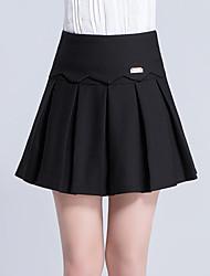 Damen Übergrössen Röcke,A-Linie einfarbig Rüsche Pailletten,Lässig/Alltäglich Arbeit Einfach Niedlich Hohe Hüfthöhe Über dem Knie