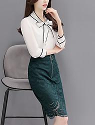 Femme Noeud Signe 2017 ressort nouveau tailleur jupe en dentelle blouse arc mode en deux parties