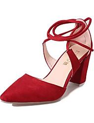 Damen-High Heels-Kleid Lässig-PU-Blockabsatz-Komfort-Schwarz Rot Grau