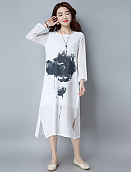 2017 new spring and summer theatrical retro national wind long section of large size women's cotton dress gown