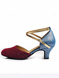 Customizable Women's Dance Shoes Sparkling Glitter Sparkling Glitter Modern Heels Customized Heel Indoor Blue Gold