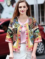 la station europe 2017 nouvelles femmes de mode section mince rétro imprimée du printemps et en automne court paragraphe petit manteau
