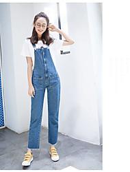 assinar nenhum novo lavagem dan alça solta grandes calças bolso denim minimalista feminina