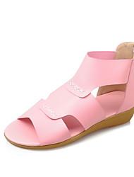 Sandalen-Outddor Lässig Kleid-PU-Flacher Absatz-Komfort Leuchtende Sohlen-Blau Rosa Beige