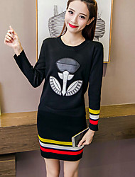 Really making a lot of cash long-sleeved knit Korean fashion cartoon suits College Wind skirt two-piece women